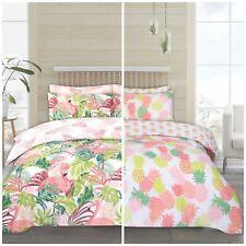 Flamingo Palm & Pineapple Twin Pack Duvet Cover Set Bedroom Bed Linen Reversible