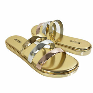 Michael Kors Womens Keiko Sandals 8 M Open Toe Casual Slide Gold/Silver Shoes