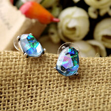 Women Green Elegant  Crystal  Rhinestone Stud Party Earrings For Sensitive Ears
