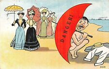 POSTCARD  COMIC  Seaside   Women  Umbrella  Danger