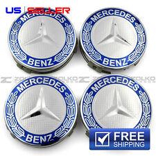 WHEEL CENTER CAPS EMBLEM BLUE 75MM 4PC SET FOR MERCEDES BENZ AMG EE11 US SELLER