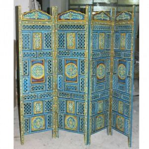 MADE TO ORDER Hand Carved Indian 4 Panel Screen Room Divider Floral Blue Painted