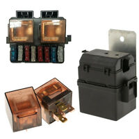 Circuit 12V 2-Way Relay Fuse Box Holder Kit with 8 Blade For Car Auto Boat Truck