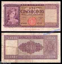 ITALIA ITALY 500 liras lire 1947  Pick 80 b  BC- / FINE -