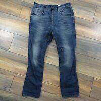 AllSaints Mens Blue Tronik Shortkick Tapered Slim Button Fly Jeans Size W32 L27