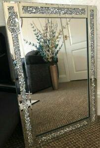 jewels diamond diamante gems jewelled mirror 60x40cm lounge bedroom bling hall
