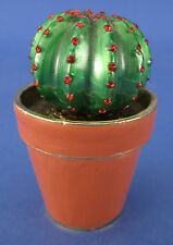 Jeweled Trinket Box Cactus In Terra Cotta Pot Enamel Red Crystals