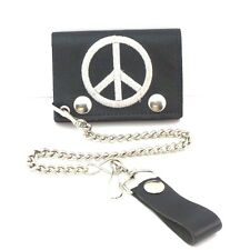 Peace Black Genuine Leather Chain Wallet Biker Trucker ID Card Holder Trifold