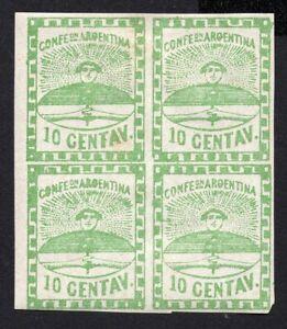 Argentina 1858 block of 4 stamps Mi#2a MH CV=12€
