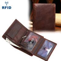 Mens Vintage Slim Trifold Wallet Genuine Leather Purse RFID Credit Card Holder