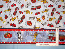 Fireman Fire Fighter Truck Double Border Cotton Fabric CP9945 Springs - Yard