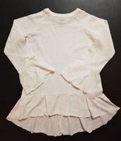 S & T Girls long-sleeved Ruffle Bottom Shirt  WHITE XS SM MED LARGE XLARGE NWT