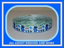 """7/8"""" BABY COOKIE MONSTER ON LIGHT BLUE POLKA DOT GROSGRAIN RIBBON- 1 YARD"""