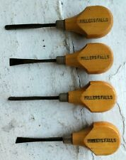 Vintage Millers Falls Wood Working Carving Tools 4 Piece Set