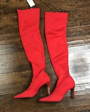 Norina Over the Knee Heel Boots Nylon Red Size 8