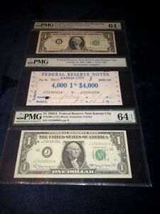 1963-A BRICK OF 4,000 $1 FRN'S KANSAS CITY, MO BOOKEND NOTES PMG UNC-64EPQ