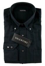 Men's VALENTINO Solid Black Cotton Button Collar Dress Shirt 15 38 S NWT $245!