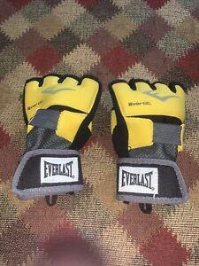 Everlast Yellow/ Black Evergel Fingerless Hand Wraps Sport Gloves sz M