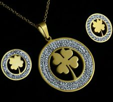 Crystal Four Leaf Clove gold Necklace Earring Set ST Patrick day Irish 765)
