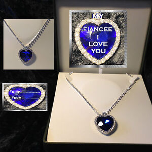 MY FIANCEE LARGE BLUE CRYSTAL HEART NECKLACE  LUXURY BOX BIRTHDAY GIFT CARD
