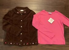 Hanna Andersson Girls Shirt Jacket 140 10 Brown Velveteen Hot Pink New Lot Of 2