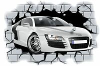 Huge 3D Audi R8 Crashing through wall View Wall Sticker Mural Decal Film 13