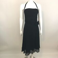 Maggy London Little Black Cocktail Dress Womens Size 12 Silk Sleeveless Lined