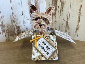 Yorkshire Terrier Dog Personalised Greetings Card, 3D Pop Up Box Card, Handmade