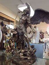 ST. Micheal un lightly hand-painted cold cast bronze 29 inchs Brand New