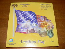 SunsOut! American Flag Shaped 1,000 Piece Jigsaw Puzzle #95186~Made in USA