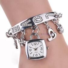 Chaîne en acier Argent femmes Chic amour strass inoxydable Montre bracelet DC