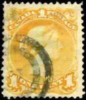 Canada #23 used F-VF 1869 Queen Victoria 1c yellow orange Large Queen 2-ring can