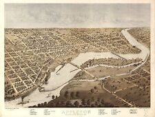 1867, A. Ruger, Bird'S Eye View Of Appleton, Wisconsin, Copy Poster Map