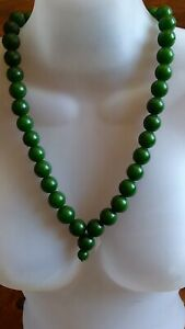 China Hetian green jade 40 beads necklace 玉 项链