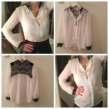 H&M Damen Chiffon Bluse Top Weiß Gold Luxus Michael Jackson T-Shirt Rar XS 32-34