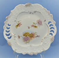 ANTIQUE GERMAN / FRENCH RETICULATED HAND PAINTED MOLDED CAKE PLATE FLORAL