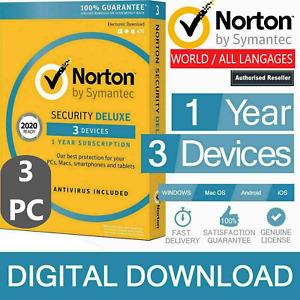 Internet Security NORTON 360 Deluxe 2021 Antivirus - 3 PC MAC Smartphones + VPN
