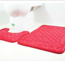 Bath Mat 2PCS Non Slip Pedestal Mat Toilet Rug Memory Foam Bathroom Pebble Red