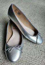 Lands End Leather Silver Shoes 10 B Ballet Flats