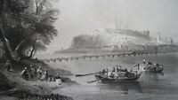 SLOVAKIA Bratislava Castle Danube River - 1840s Antique Print by BARTLETT