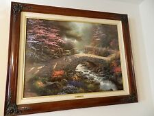 Thomas KINKADE-BRIDGE OF FAITH- BRANDY FRAMED RARE canvas-GARDEN OF PROMISE III