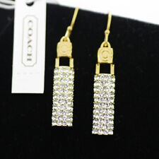 Coach Gold Pave Crystal Rhinestone Deco Bar Drop Dangle Earrings