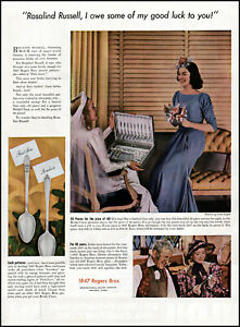 1938 Rosalind Russell 1847 Rogers Brothers Silver vintage photo print ad adL12
