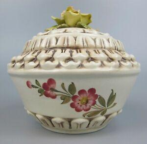 "Large vintage ceramic ""The House of Heritage"" Box / Pot / Jar. Hand painted rose"