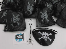 Pirate Pre Filled Party Bags, Eye Patch, Skull Cord Charm & Tattoo, Gift/Filler