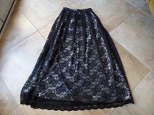 NWT RONNI NICOLE Black & Gray Lace Maxi Long Patio Skirt 6