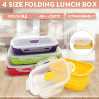 4Pcs Eco-friendly Silicone Travel Collapsible Lunch Boxes Folding Food  UK1 U3