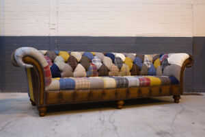 HANDMADE LARGE 4 SEATER MULTI COLOUR WOOL & LEATHER PATCHWORK CHESTERFIELD SOFA