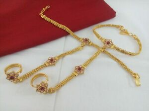 Indian Jewelry Hath Punja Bollywood Ethnic Gold Plated Bracelet With Rings