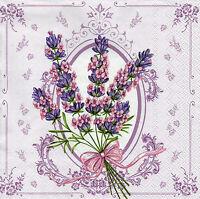 4 Servietten Napkins Tovaglioli Serviettentechnik Blumen Lavendel (1146)